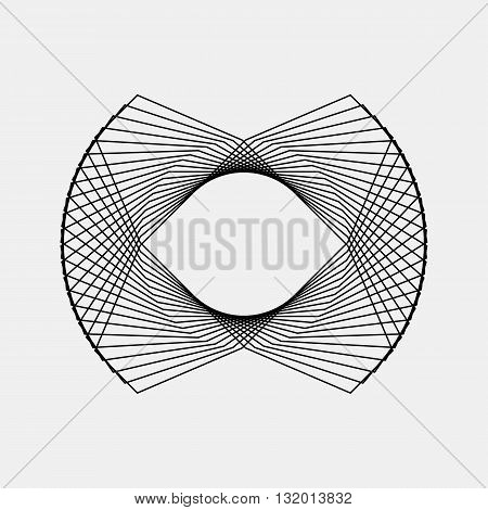 Black abstract fractal, rotation, repeat, reflection shape with light background for logo, design concepts, posters, banners, business presentations, web and prints. Vector illustration.
