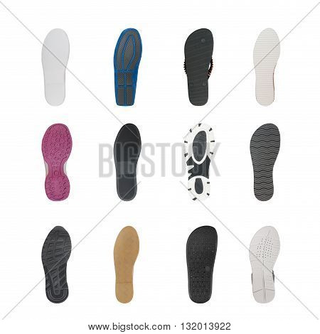 set of various shoe soles isolated on white
