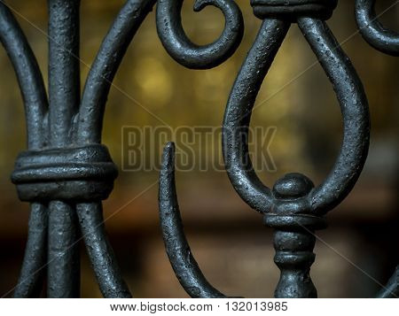 Close-up detail of classical iron railings of a staircase. Home and interior design