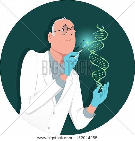 Genetic engineering. A man in a lab coat modifying a DNA molecule, vector cartoon