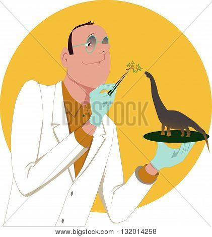 Genetically modified organism. Scientist feeding a tiny dinosaur, vector cartoon
