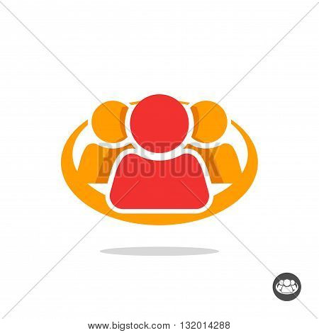 Group of three people logo sign organization icon symbol abstract family team lead leader friends unity concept teamwork union cooperation support social flat colorful icon design isolated