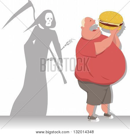 Grim Reaper tags an overweight man eating a hamburger