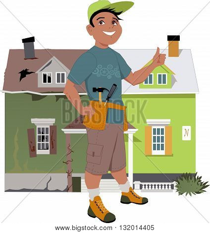 Smiling man giving a thumb up in front of a house, shown before and after renovation, vector illustration, no transparencies