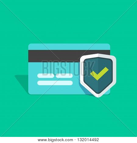 Credit card protection icon secure payment sign credit card with shield and green check mark flat simple vector illustration design isolated on greed background