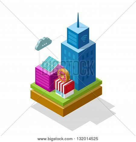 Smart city isometric vector illustration future technology symbol concept infrastructure wireless communication colorful 3d buildings modern logo design isolated on white background