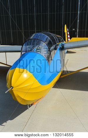 TEHACHAPI, CA - MAY 28, 2016: This 1938 Schweizer SGS2-8 two-place glider appeared at the Western Vintage/Classic Regatta. It was used early in World War II as a primary trainer.