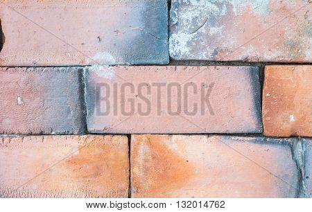Closeup old and dirty red brick wall texture background