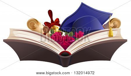 Education symbol. Book, diploma, bell, flowers and mortarboard. Isolated on white vector illustration