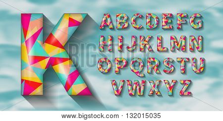 Volumetric geometric English alphabet with shadows. Polygonal geometry. EPS10.