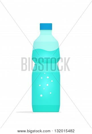Water bottle plastic vector illustration isolated on white background bottle of mineral water with bubbles inside flat icon simple cartoon design isolated on white background