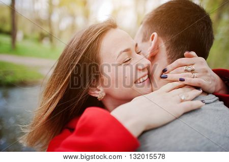 Sincere Emotions And Hugs Of Couple In Love, Close Up.