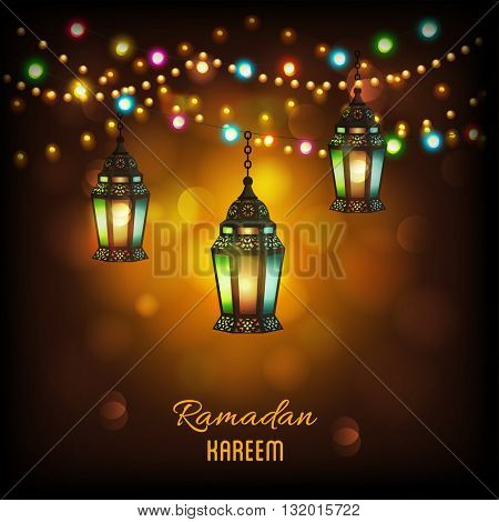 Creative illuminated hanging Arabic lanterns with glowing lights on shiny background, Elegant greeting or invitation card for Islamic holy month, Ramadan Kareem celebration.