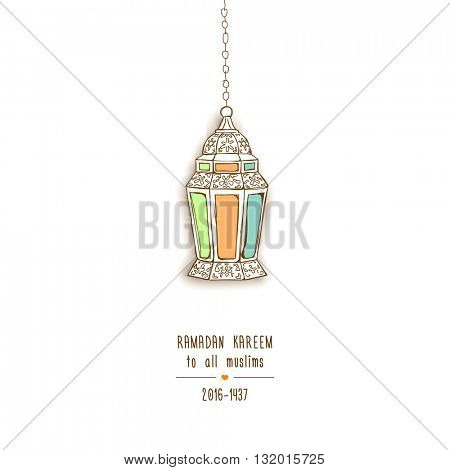 Eid Mubarak Background Arabic lantern.Vector illustration
