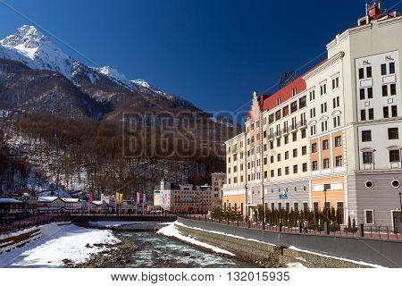 Sochi, Russia - February 10, 2016: Rosa Khutor Alpine Resort. Krasnaya Polyana, Krasnodar region, Sochi, Russia. Constructed from 2003 to 2011