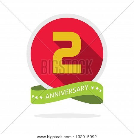 2nd anniversary logo template with a shadow on red circle and yellow number 2 two. 2 years anniversary icon. Two years symbol second promotion sticker ribbon vector emblem