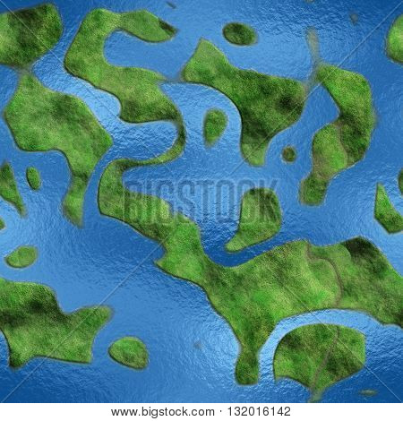 Seamless Texture Earth abstract land and sea 3D illustration