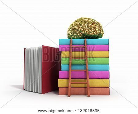 Gold Brain Training Concept Lies On A Pile Of Books And A Wooden Staircase Next To Them 3D Render On