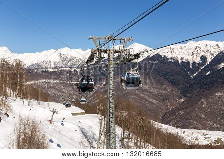 Sochi, Russia - February 10, 2016: Ski lift in Rosa Khutor Alpine Resort in Sochi
