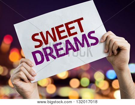 Sweet Dreams placard with bokeh background