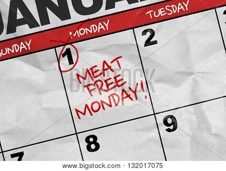 Concept image of a Calendar with the text: Meat Free Monday