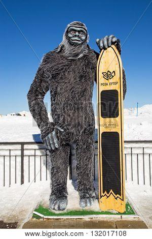 Sochi, Russia - February 10, 2016: Yeti with a snowboard. Rosa Khutor Alpine Resort. Krasnaya Polyana, Krasnodar region