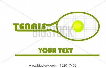 Tennis logo with tennis ball - vector illustration.