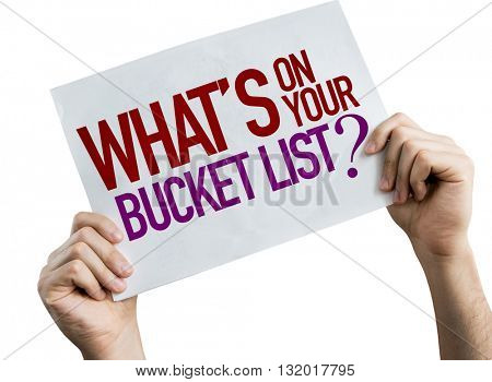 Whats On You Bucket List? placard isolated on white background