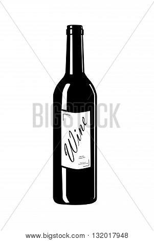 Wine bottle with label - vector illustration.