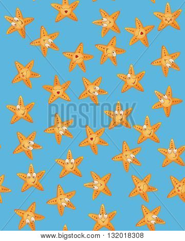 Sea stars seamless pattern. Vector funny illustration