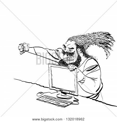 Brutal bearded man selfie line art caricature. Smartphone and computer