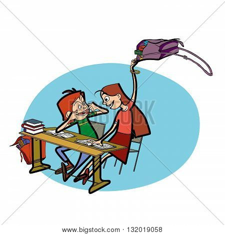 Boy and girl in school pranks line art caricature. Education. Desk in the classroom. Schoolboy and schoolgirl
