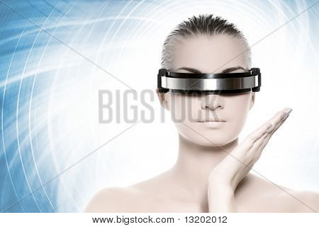Beautiful cyber woman isolated on abstract blue background