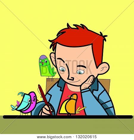 Boy writes bird watching line art caricature. The student learns. Excellent studious boy. Writer poet