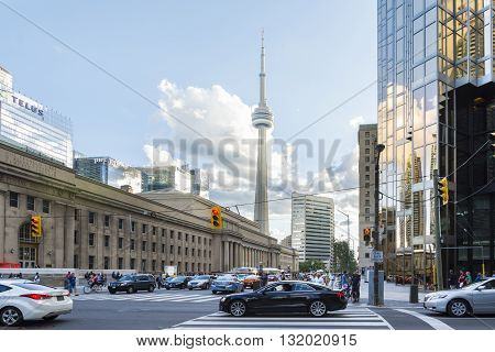 TORONTO,CANADA-AUGUST 2,2015:view of the CNN towers in Toronto during a sunny day from une of the central street of the city.