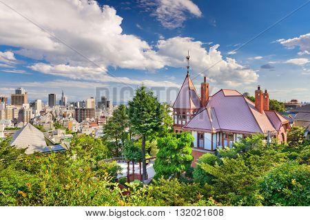 Kobe, Japan skyline from the historic Kitano District.