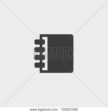 Notebook icon in a flat design in black color. Vector illustration eps10