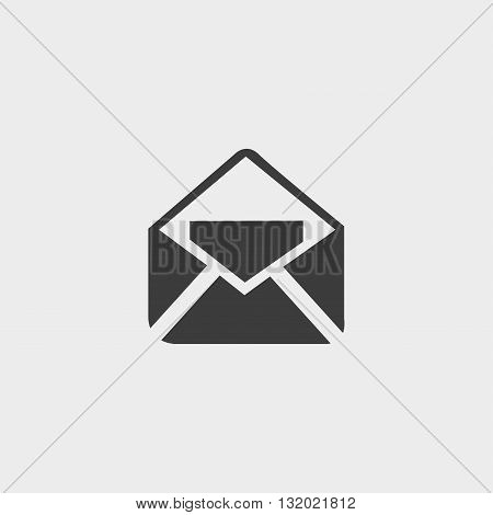 Open mail icon in a flat design in black color. Vector illustration eps10