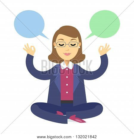 Businesswoman thinking during meditation. Woman doing yoga meditation or relaxing choose right decisions. Vector cartoon illustration