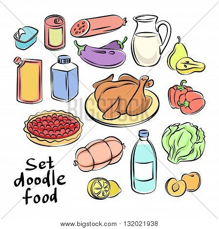 Colorful hand drawn food objects. Freehand doodles food collection. Sketchy vector icons
