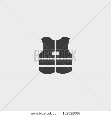 Safety vest icon in a flat design in black color. Vector illustration eps10