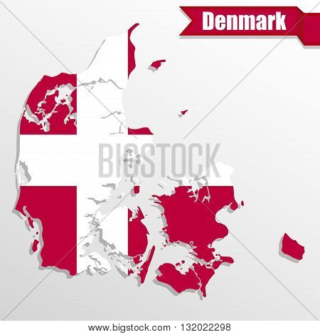 Denmark map with flag inside and ribbon