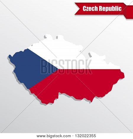 Czech Republic map with flag inside and ribbon