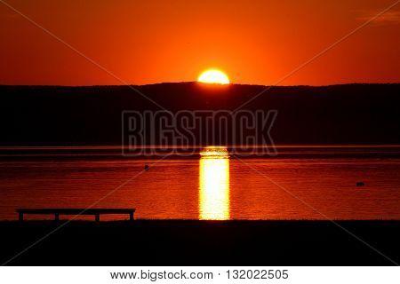 Orange sunset on Lake Neusiedl - austria