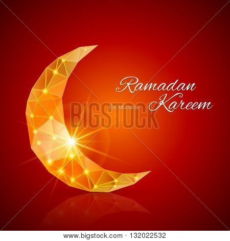 Crescent Moon with bright flare ain dark red and yellow shades. Greeting card of holy Muslim month Ramadan