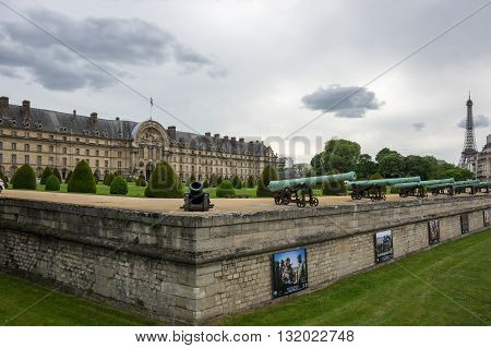 PARIS FRANCE - MAY 07 2015: Les Invalides (The National Residence of the Invalids and Army Museum) in Paris France
