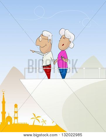 Happy old couple looking travel on yacht or cruise liner. Vacation, travel around the world concept illustration. Layered Vector illustration