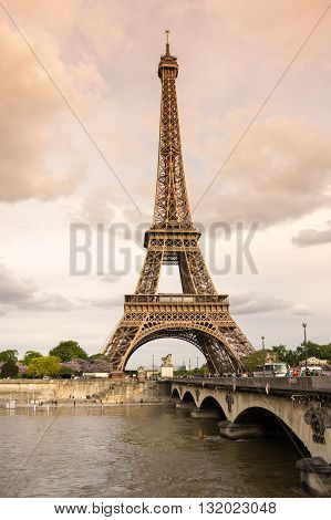 PARIS FRANCE - MAY 07 2015: View at famous Tour Eiffel in the evening Paris France
