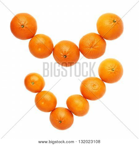 Yes tick mark made of multiple orange fresh juicy tangerines isolated over the white background, top view