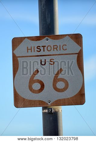 Route 66 Road Sign on the historic american interstate
